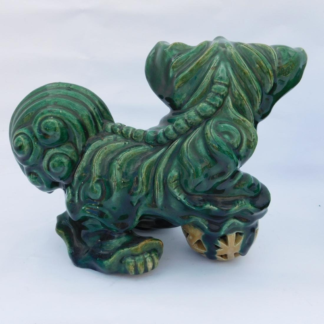 Pair Green Foo Dogs - 7