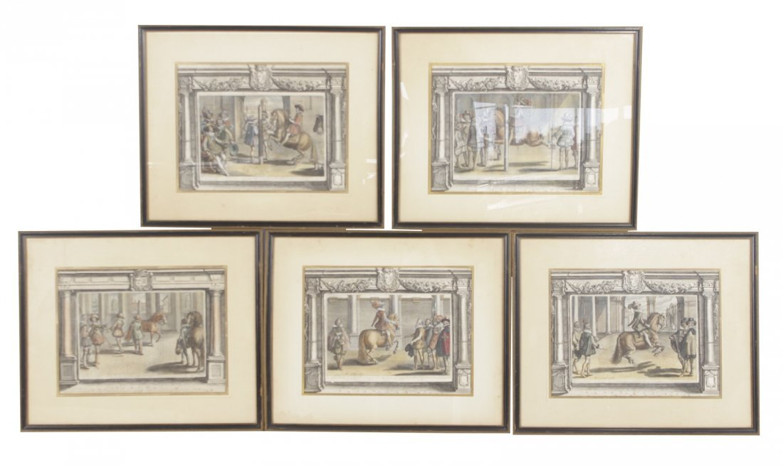 Set of Five 18th C Horse Engravings