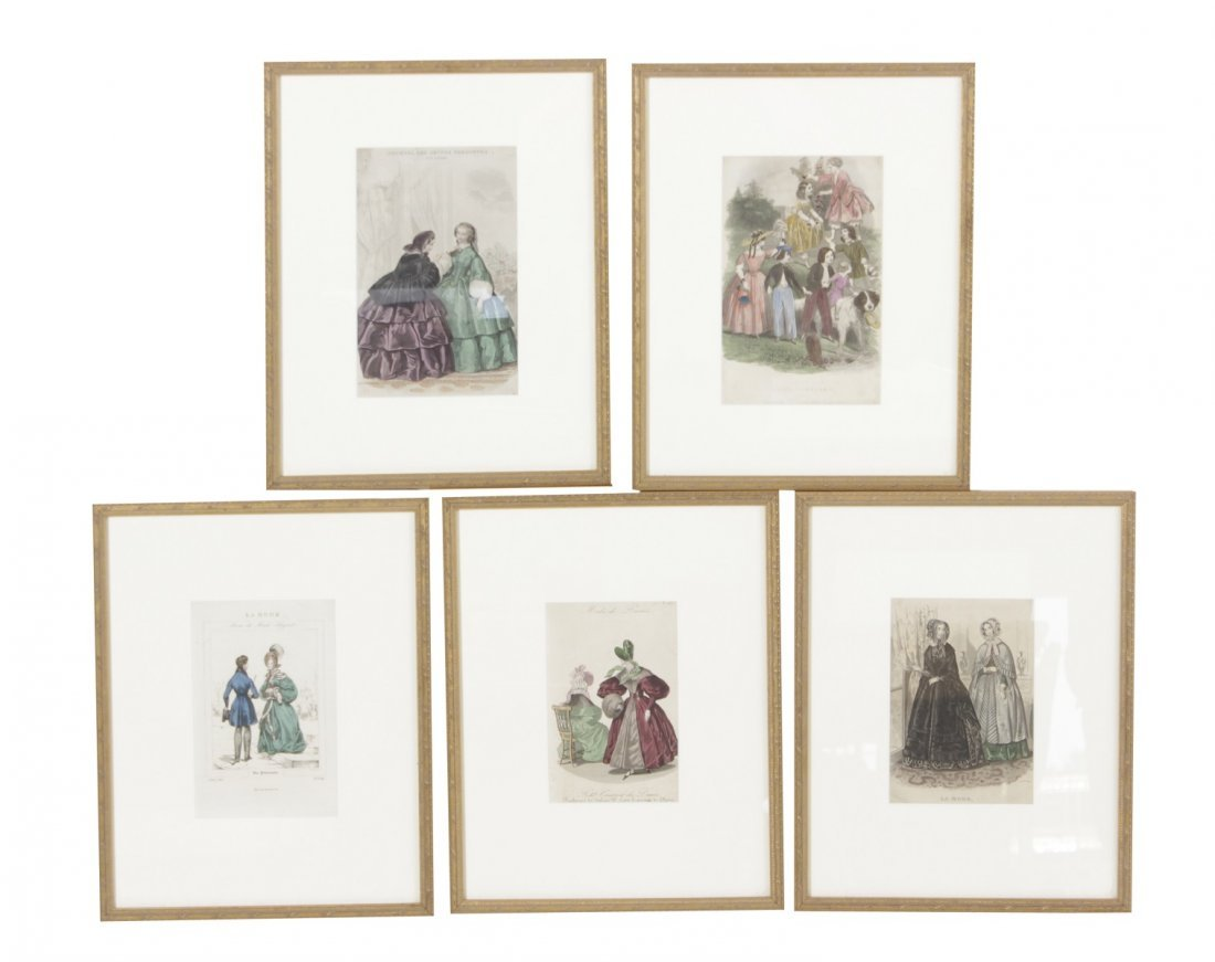 Five Antique Fashion Plates or Etchings