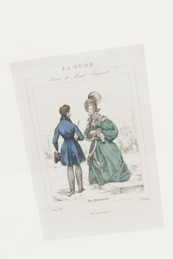 Five Antique Fashion Plates or Etchings - 4