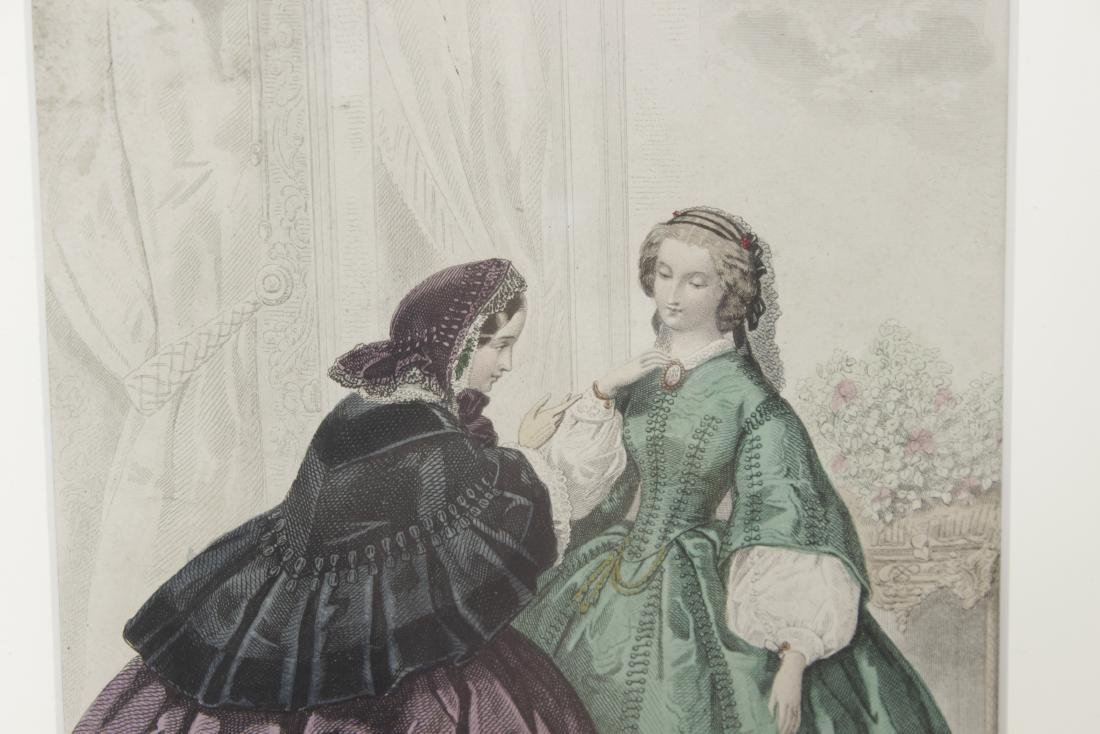 Five Antique Fashion Plates or Etchings - 8