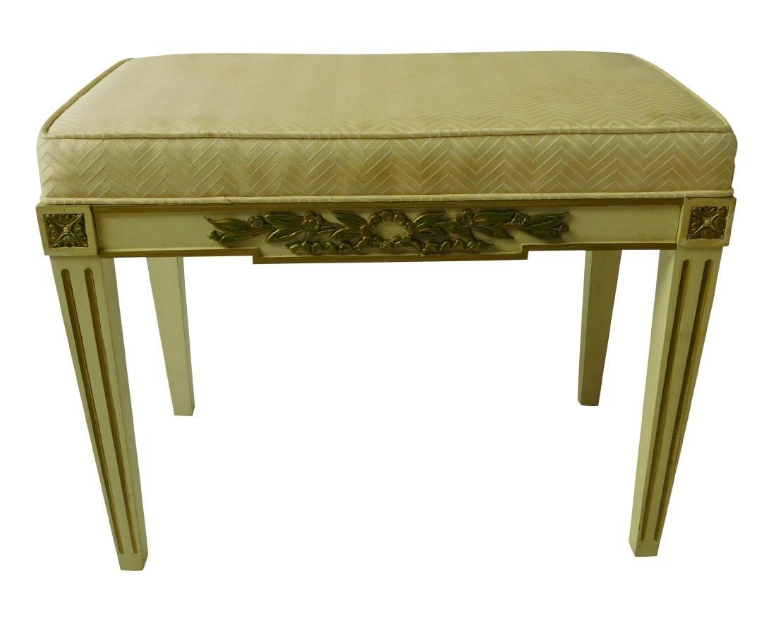 BAKER White Painted Upholstered Bench