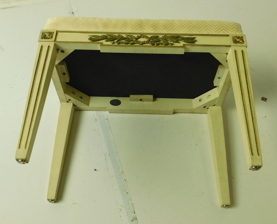 BAKER White Painted Upholstered Bench - 3