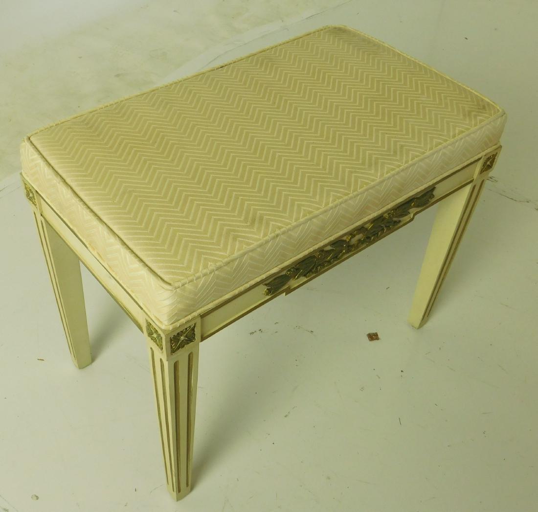 BAKER White Painted Upholstered Bench - 4
