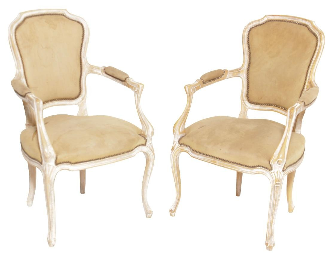 Pair Louis XV Style Upholstered Fautueils