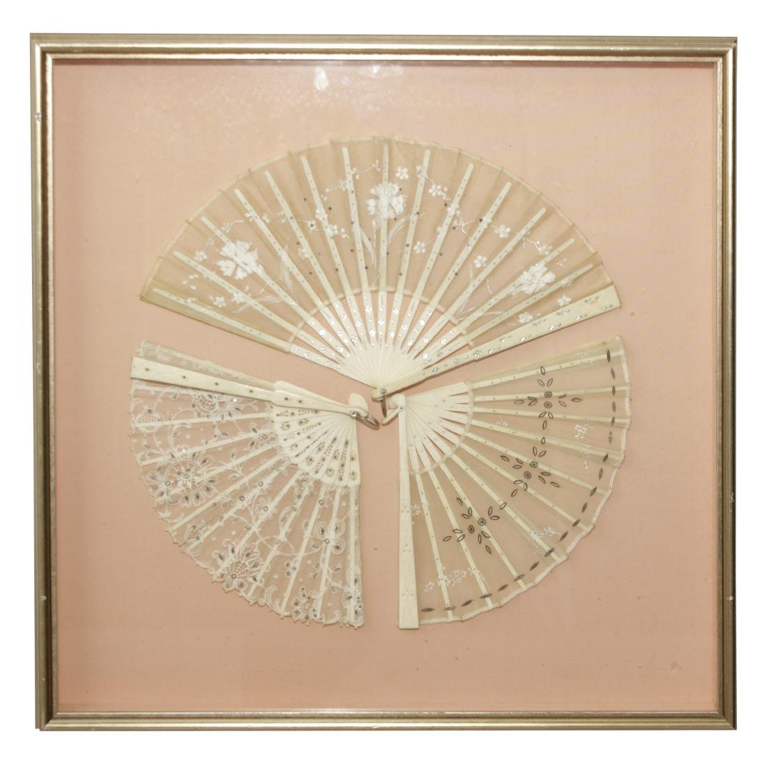 Framed Group of Three Fans