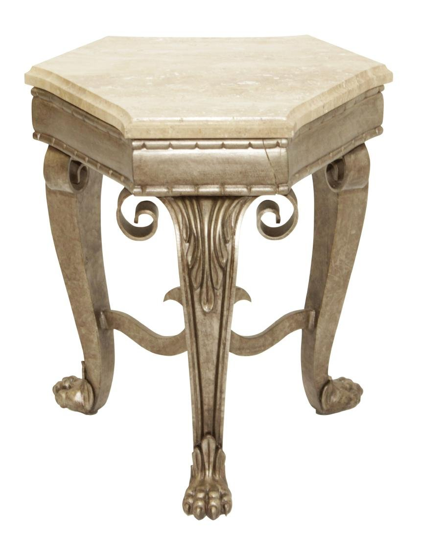 SHERRILL Three Leg Metal Table With Marble Top