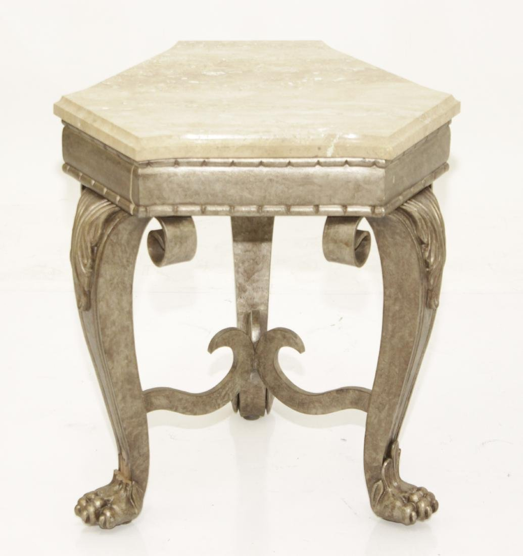 SHERRILL Three Leg Metal Table With Marble Top - 9