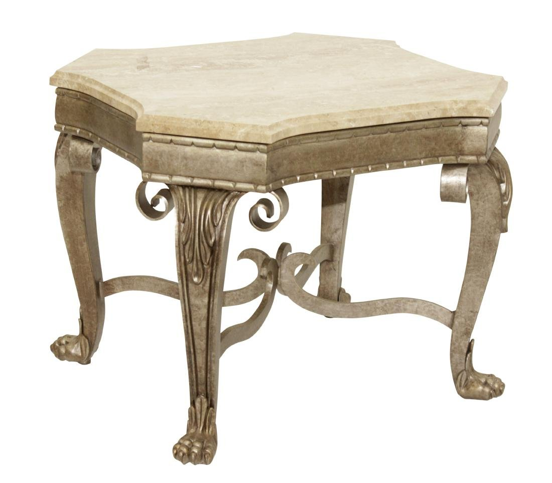 SHERRILL Metal Table With Marble Top