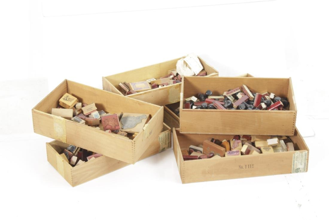 Box Lot of Rubber Stamps