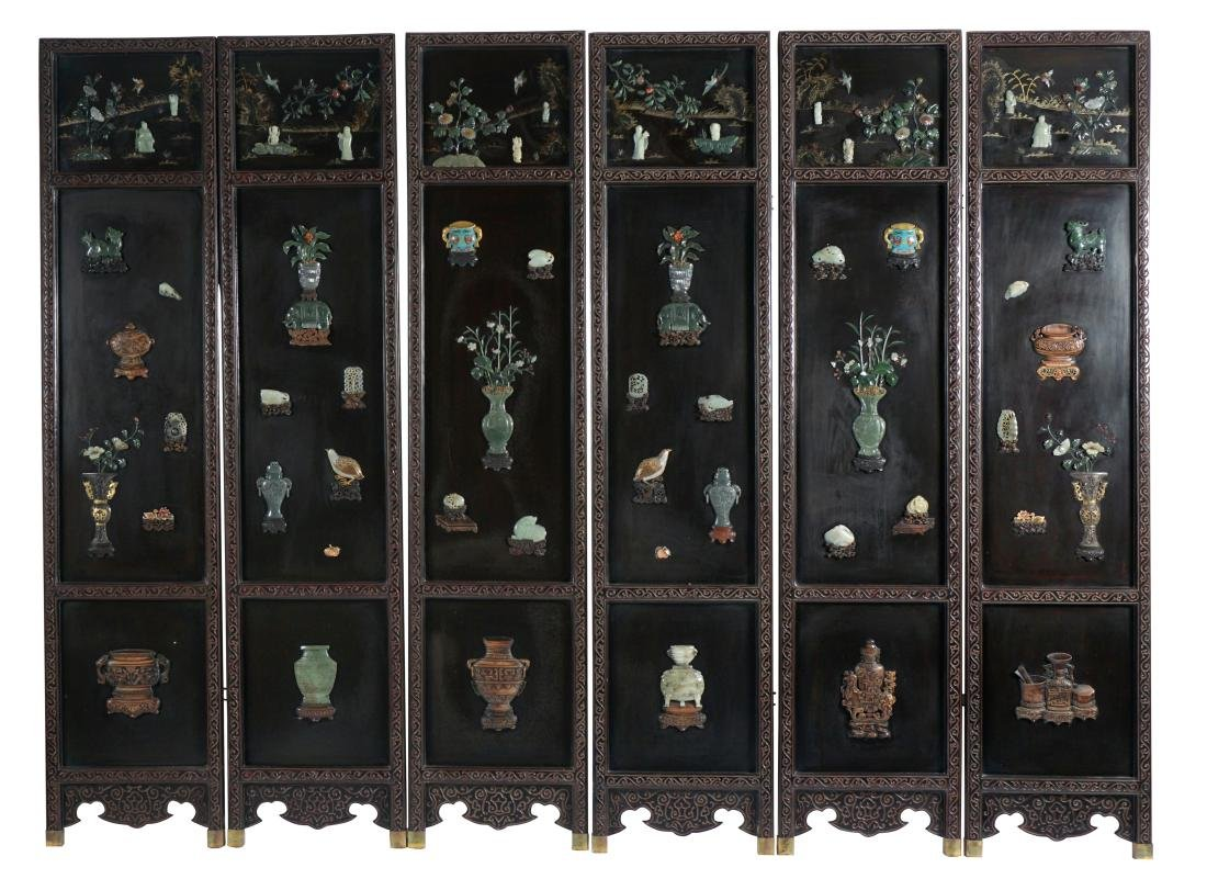 Chinese Six Panel Black Lacquer Screen