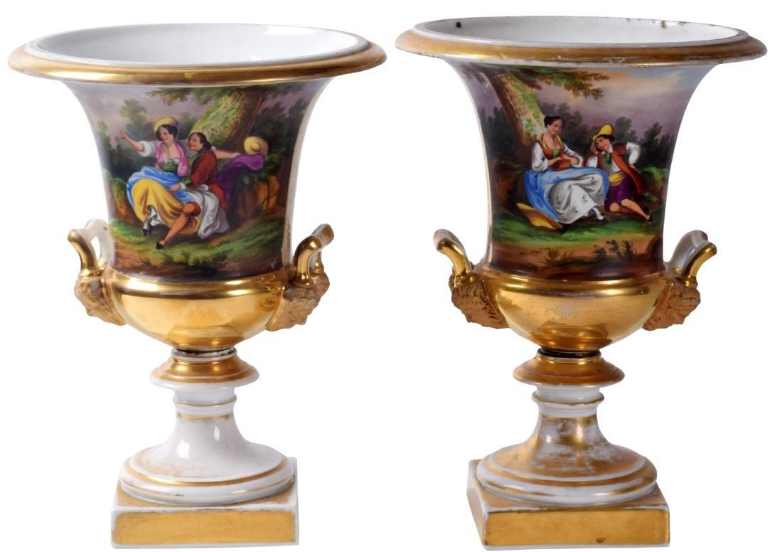 Pair Paris Porcelains Urns