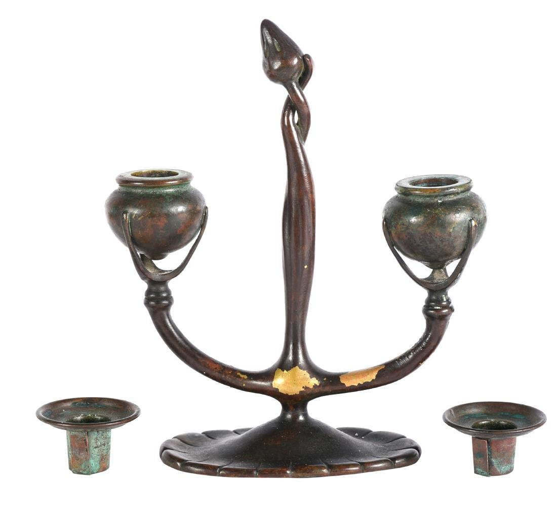 Tiffany Studios Bronze Two Arm Candlestick