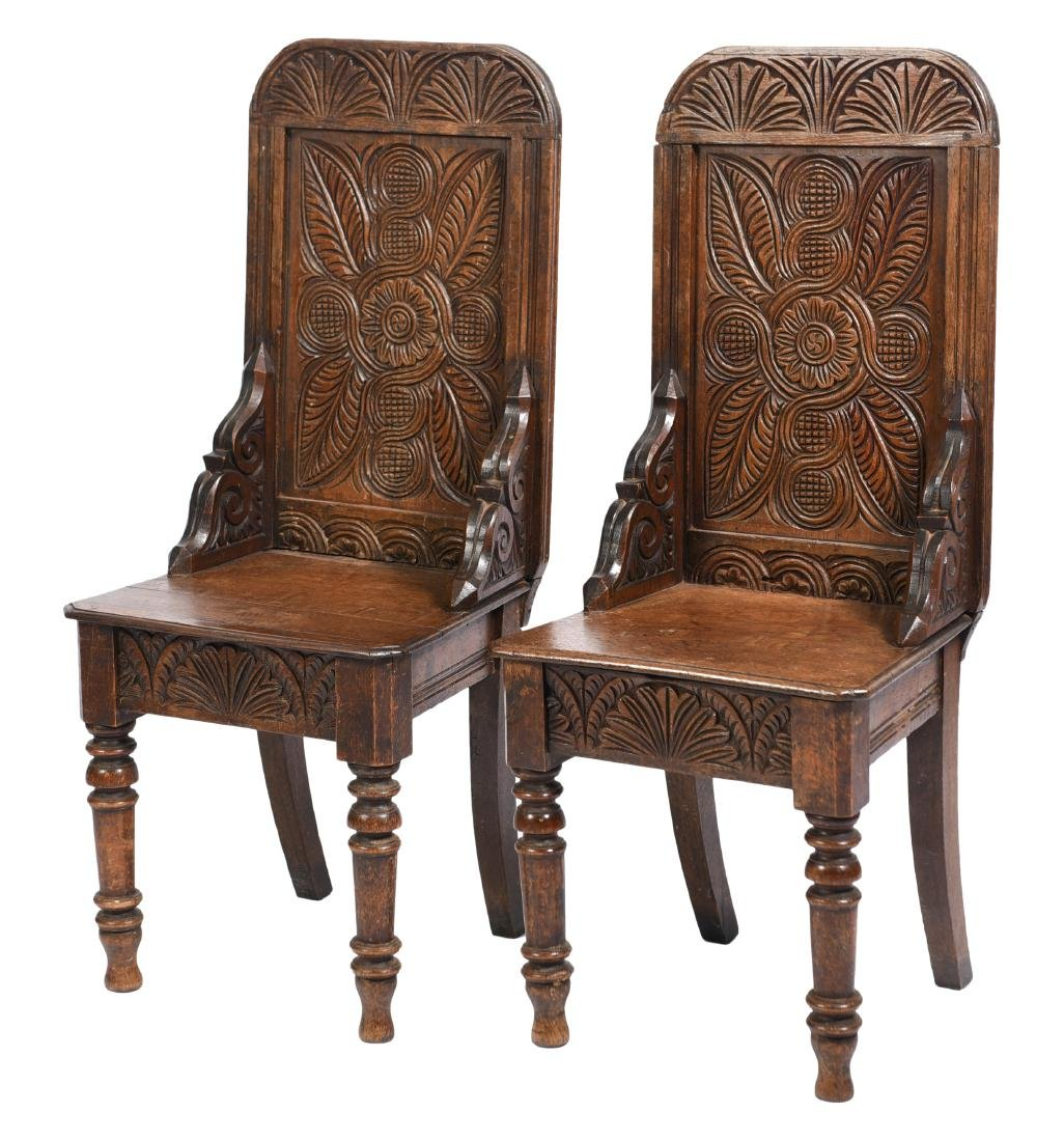 Pair  Of Carved English Hall Chairs 19th C