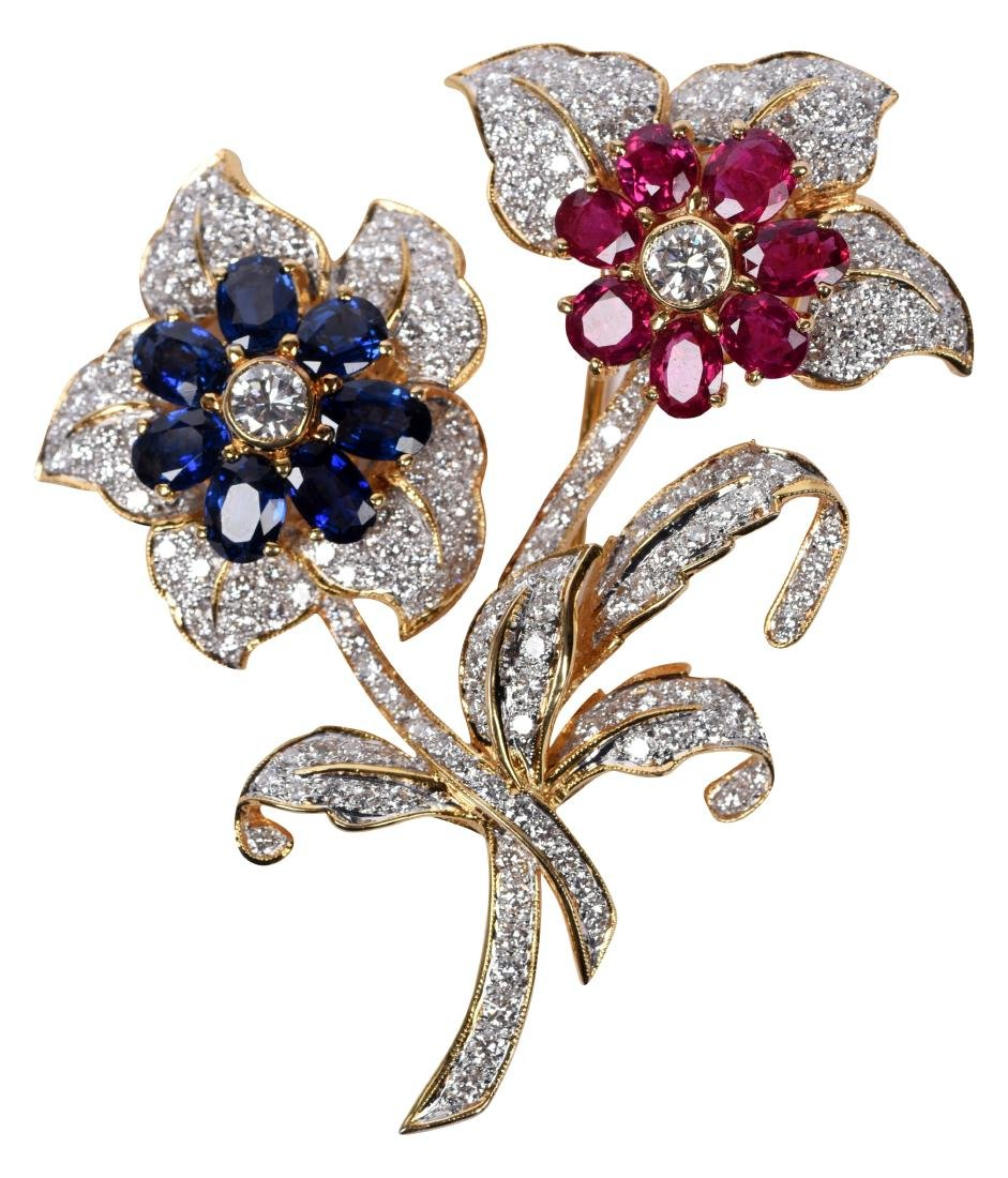 Diamond Ruby Sapphire 14k Gold Flower Pin