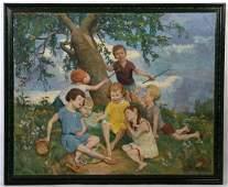 Pierre Villain Oil On Canvas