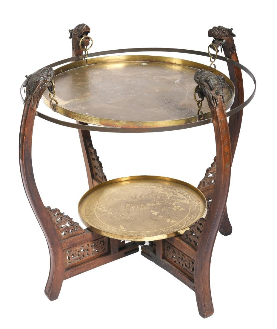 Chinese Hardwood Double Brass Tray Table