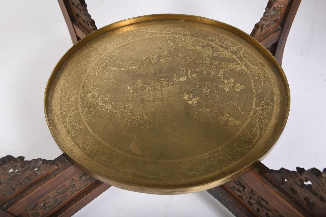 Chinese Hardwood Double Brass Tray Table - 5