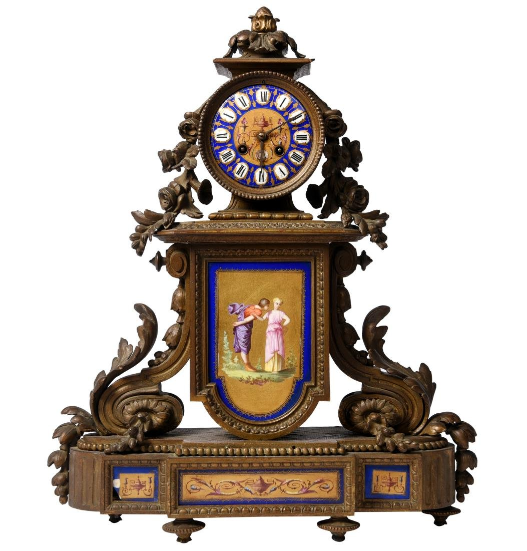 French Bronze And Enamel Mantel Clock