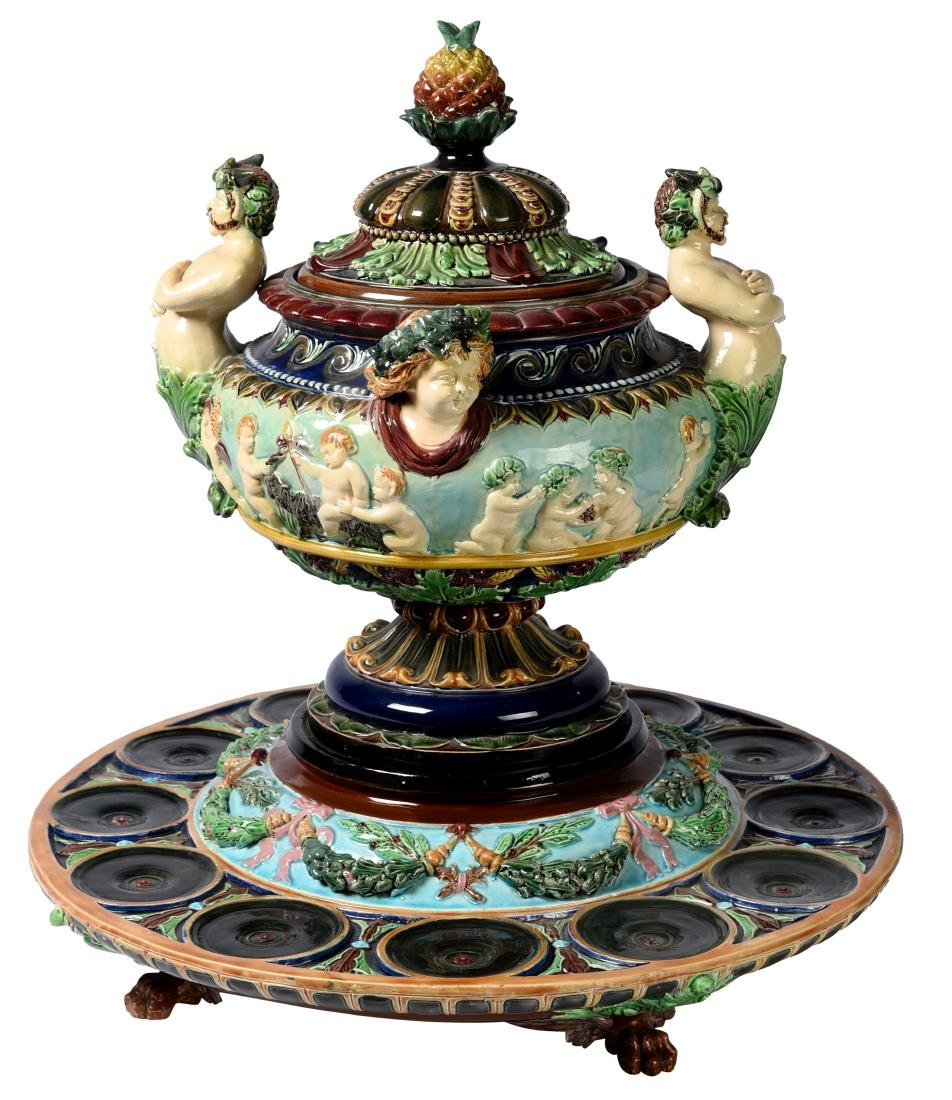 Large Lidded Majolica Punch Bowl And Platter