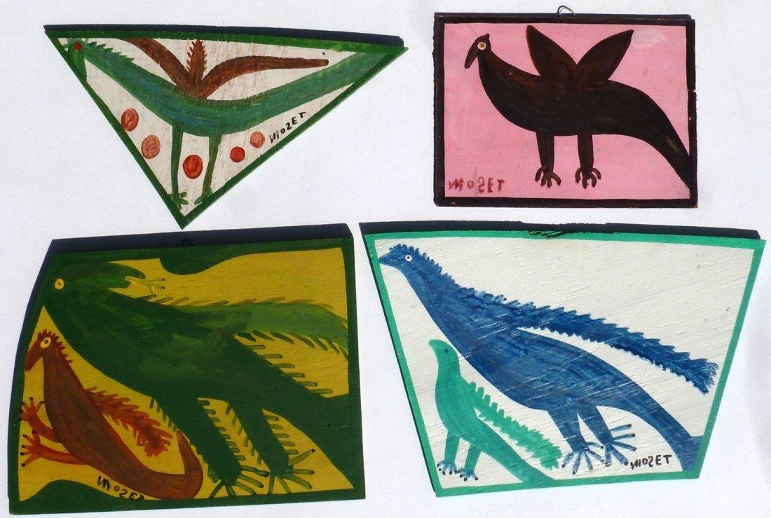 Mose Tolliver (Alabama 1918 - 2006) 4 Bird Paintings