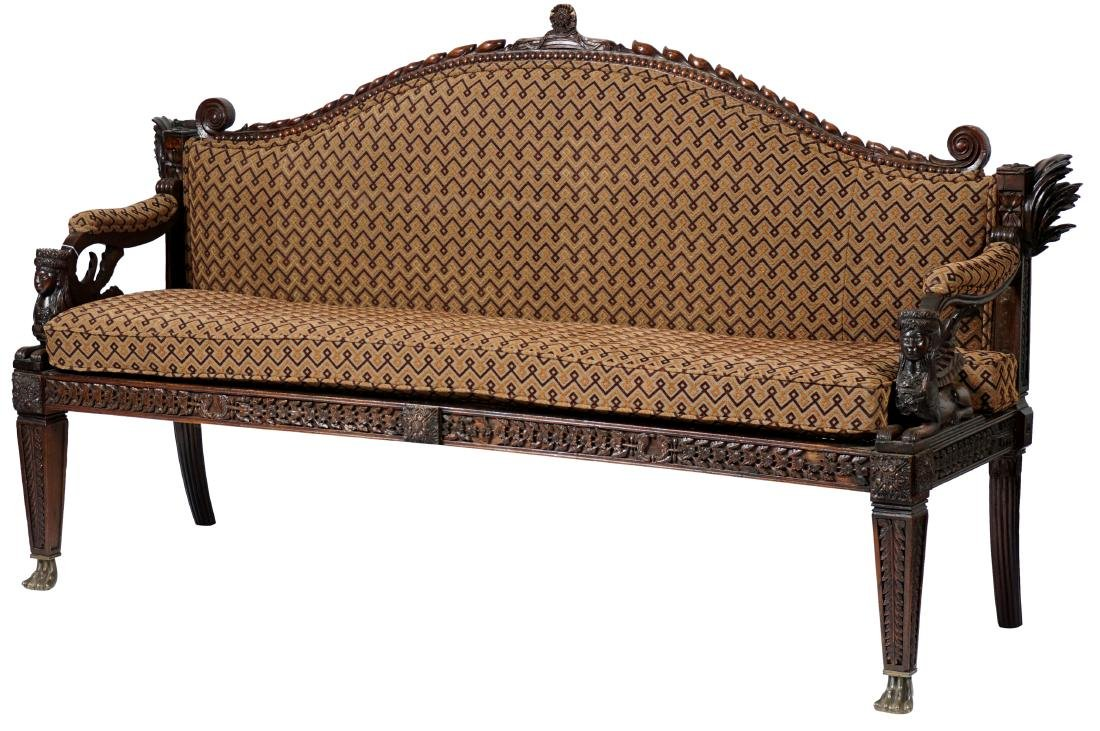 Portuguese - Island Carved Caned Sofa C 19th C