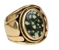 Mens 14k Gold And Agate Ring