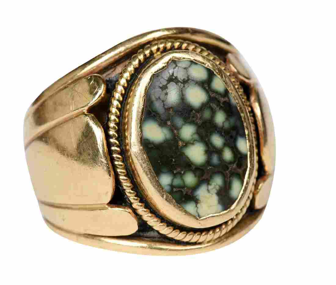 Men's 14k Gold And Agate Ring