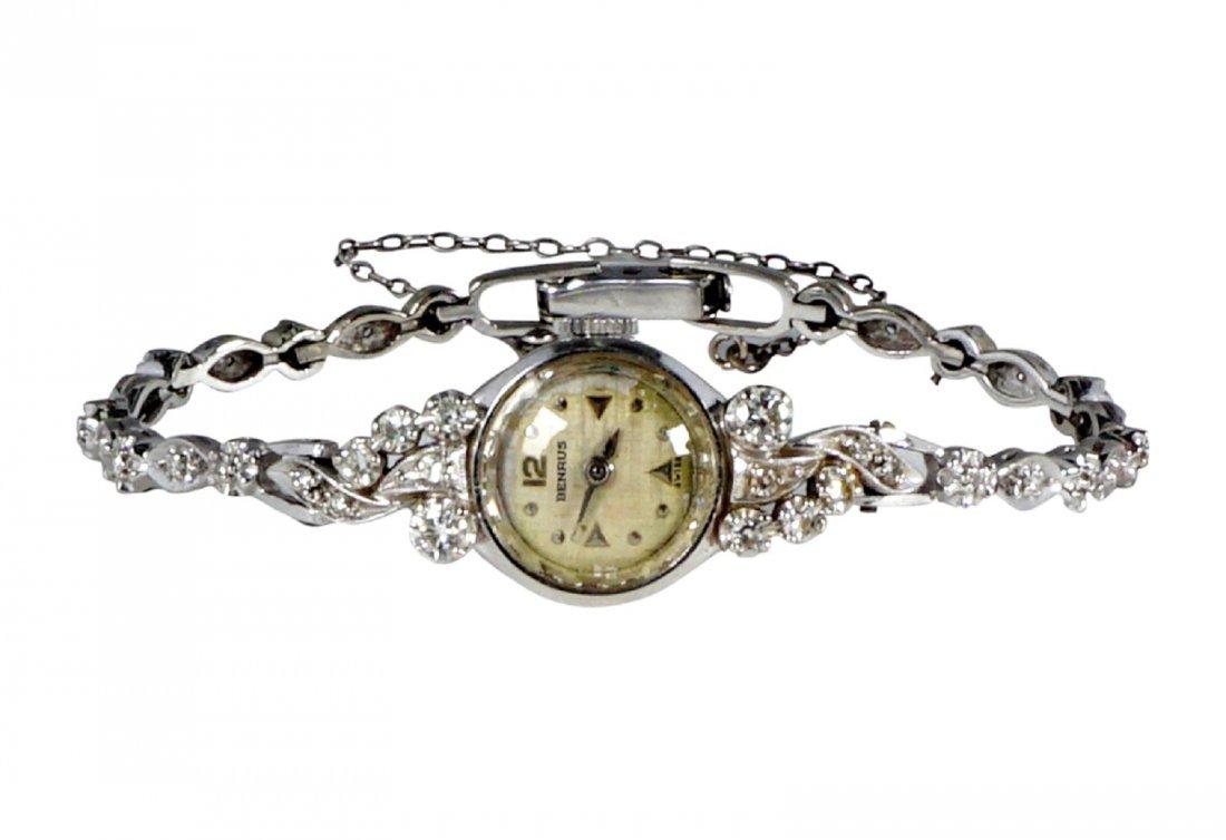 Vintage Ladies Benrus 14K Gold & Diamond Watch