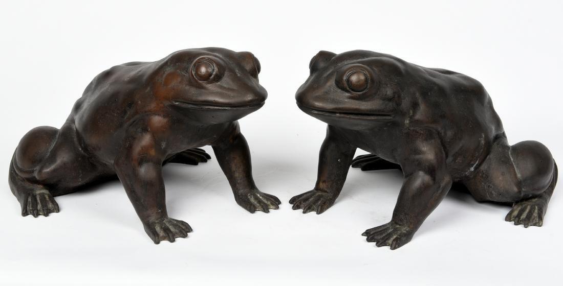 Pair Asian Bronze Frogs