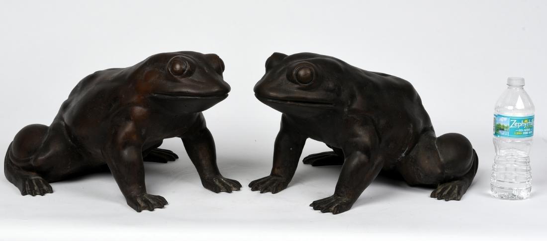 Pair Asian Bronze Frogs - 2