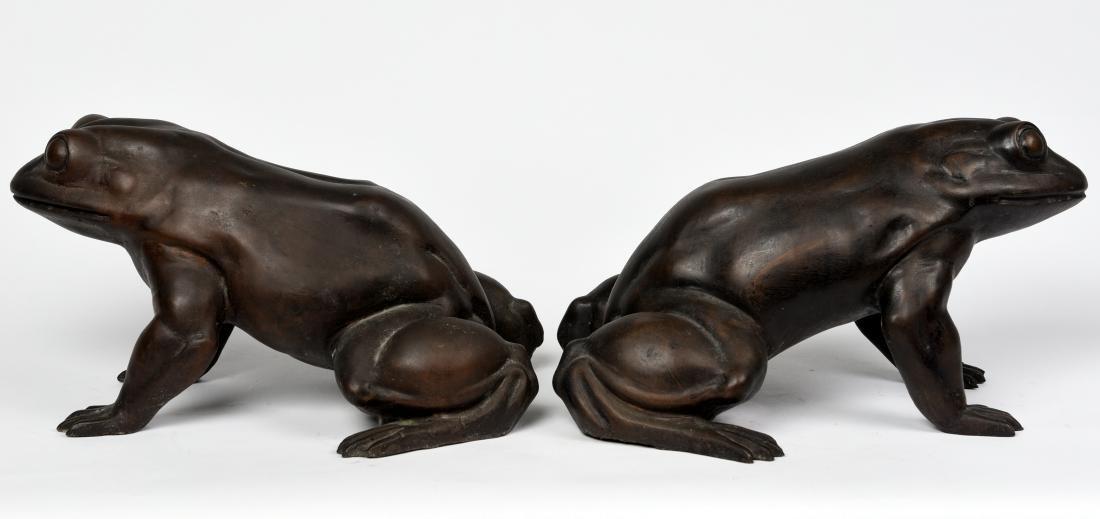 Pair Asian Bronze Frogs - 4