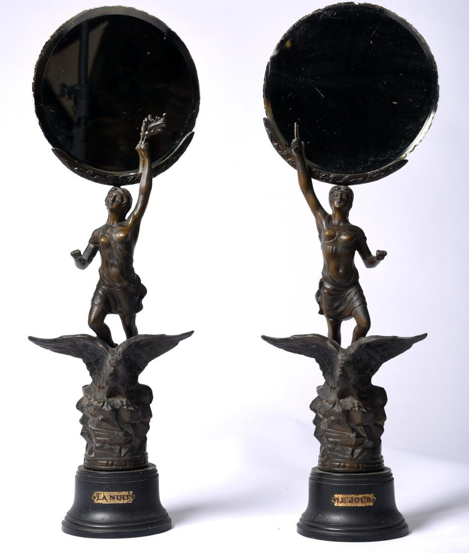 Pair Patinated Metal Figural Mirror Stands