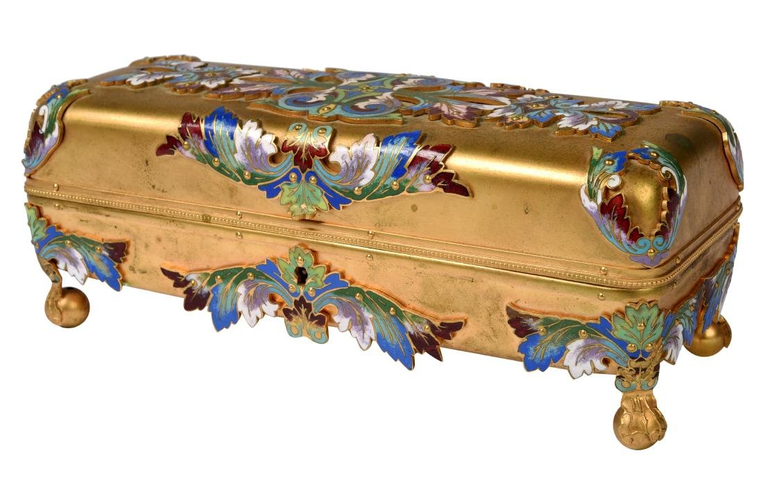 Bronze & Cloisonné Art Nouveau Glovebox