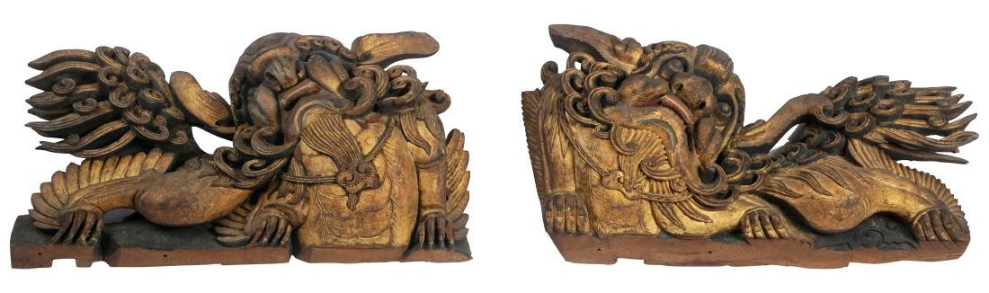 Antique Chinese Wood Temple Carvings