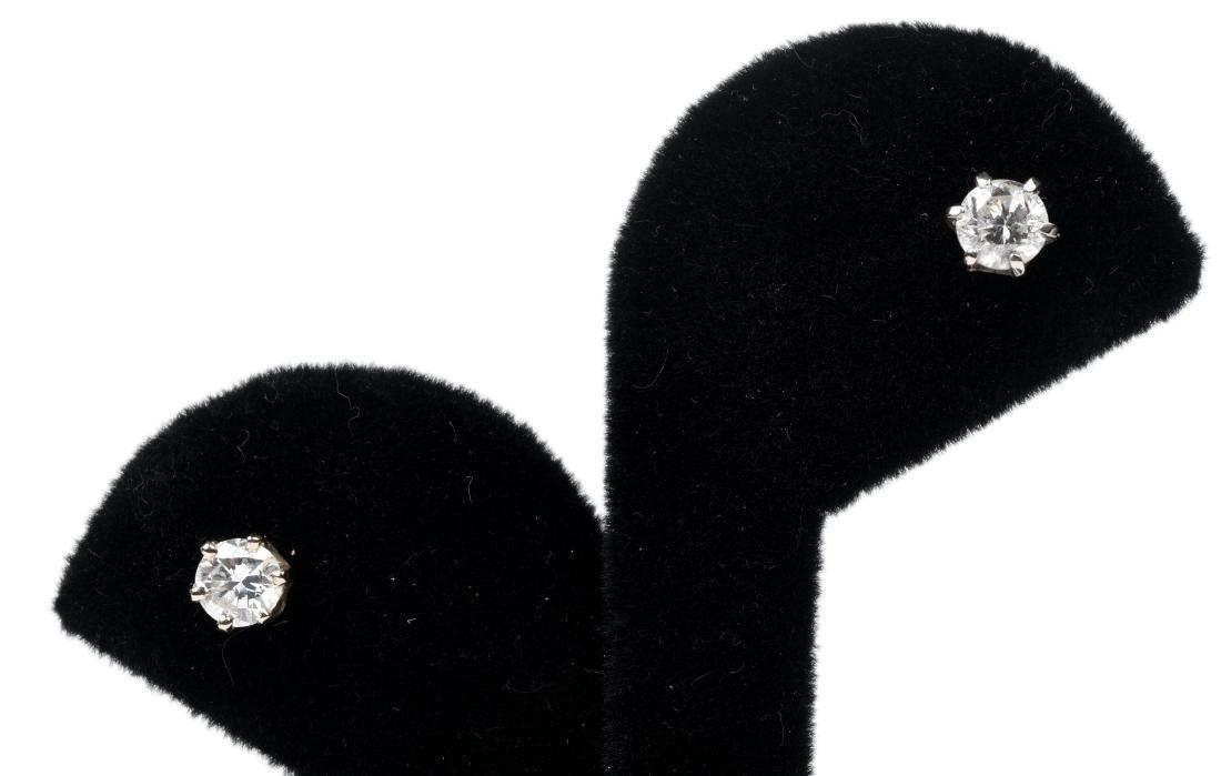 1 ct Diamond Stud Earrings 14K White Gold