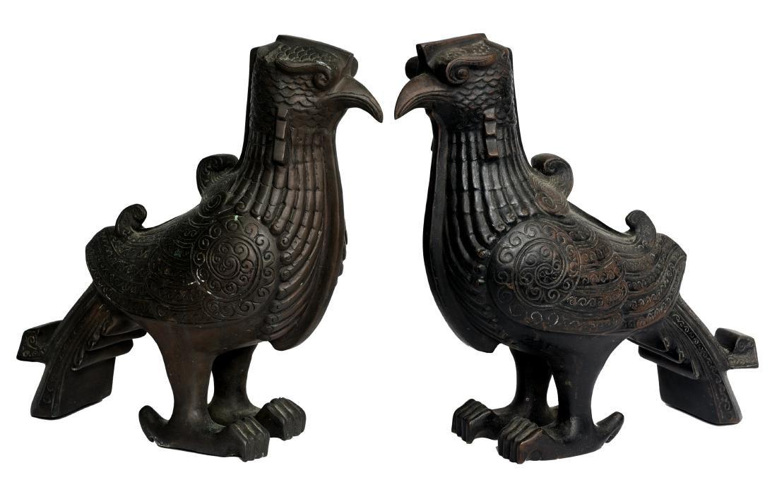 Pair of Asian Bronze Bird Figures