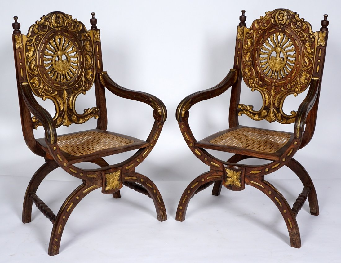 Pr Anglo-Indian Or British Colonial Armchairs
