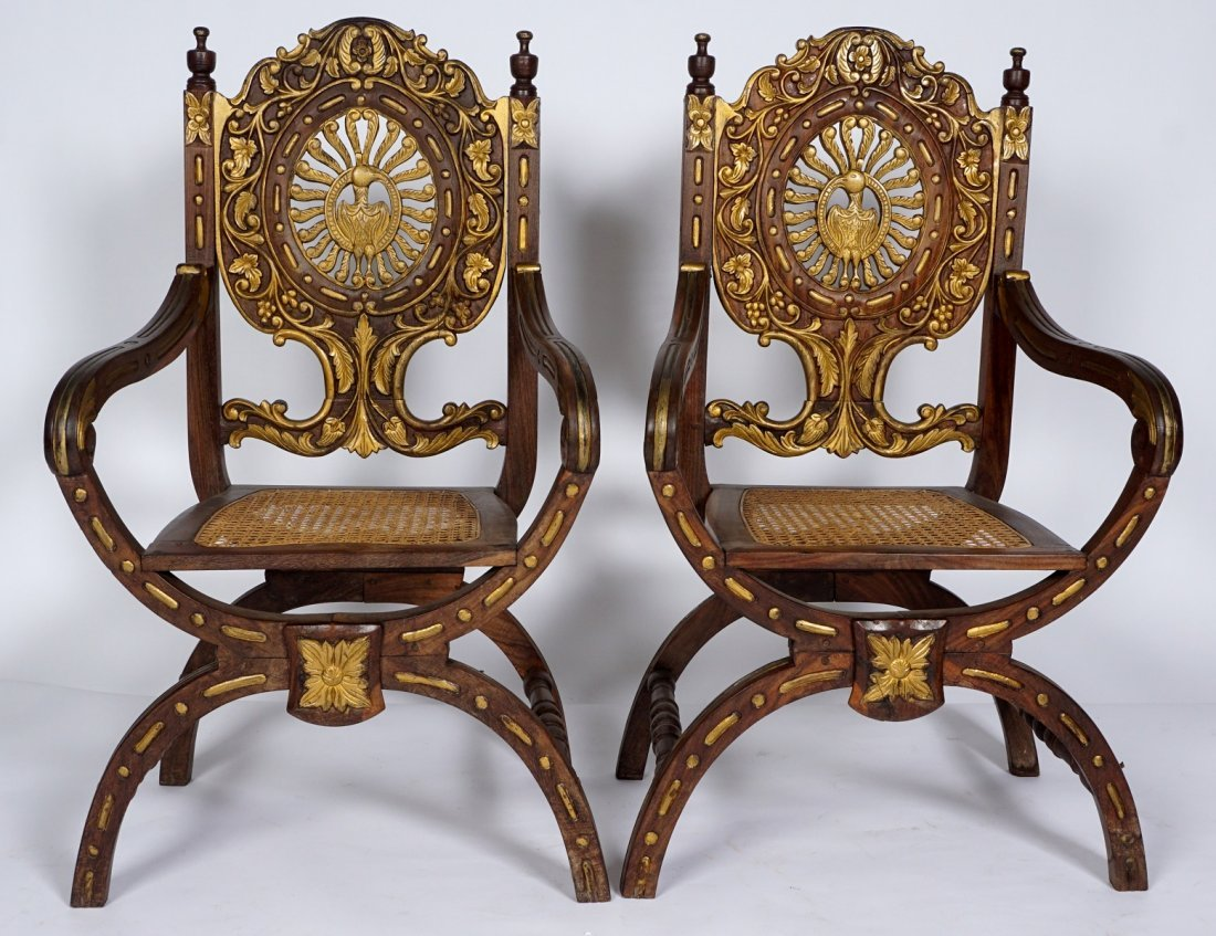 Pr Anglo-Indian Or British Colonial Armchairs - 2