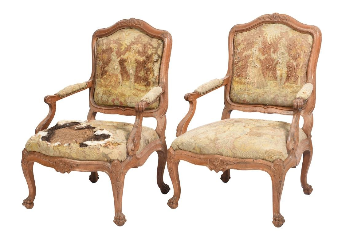 19th C French Pair Bergeres Chairs