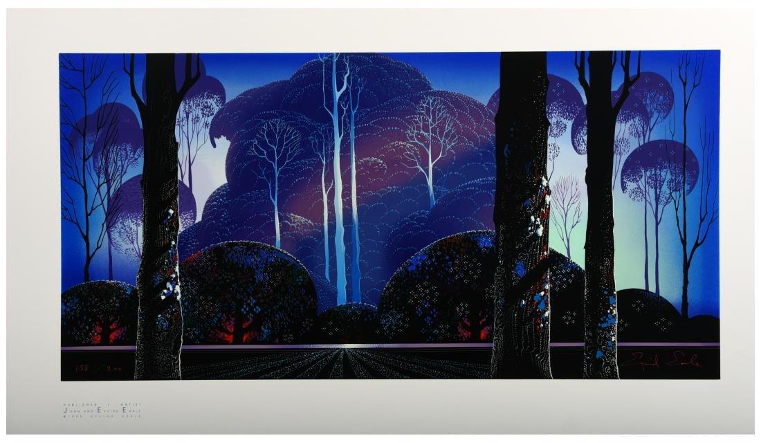 """Eyvind Earle Serigraph """"Purple Sunrise"""" #138/200"""