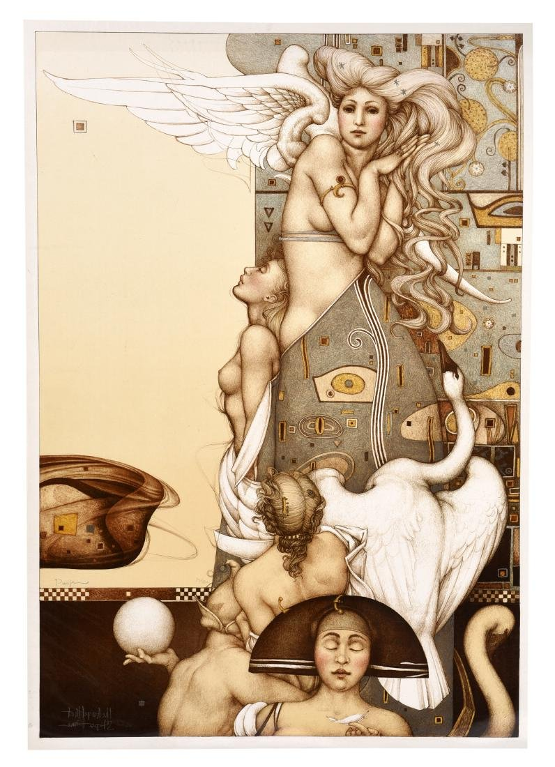 """Michael Parkes Stone Lithograph """"Angel That Stops"""