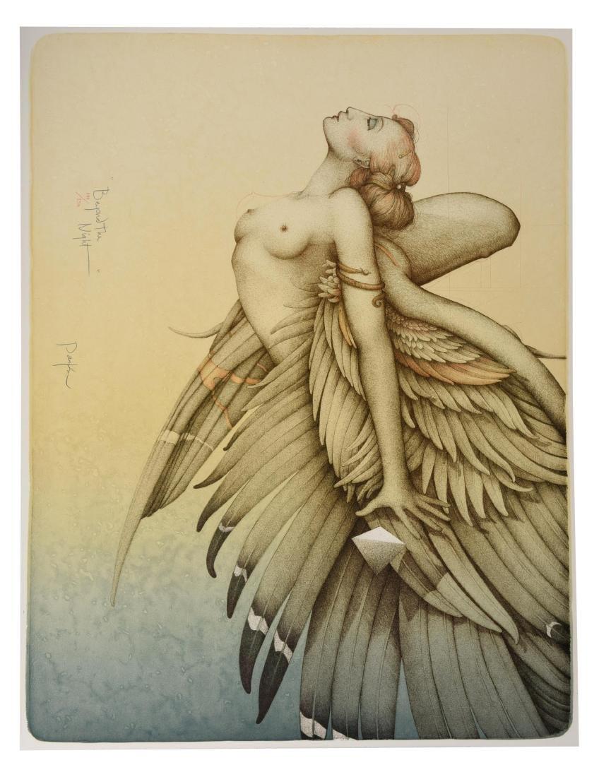 "Michael Parkes Stone Lithograph ""Beyond The Night"