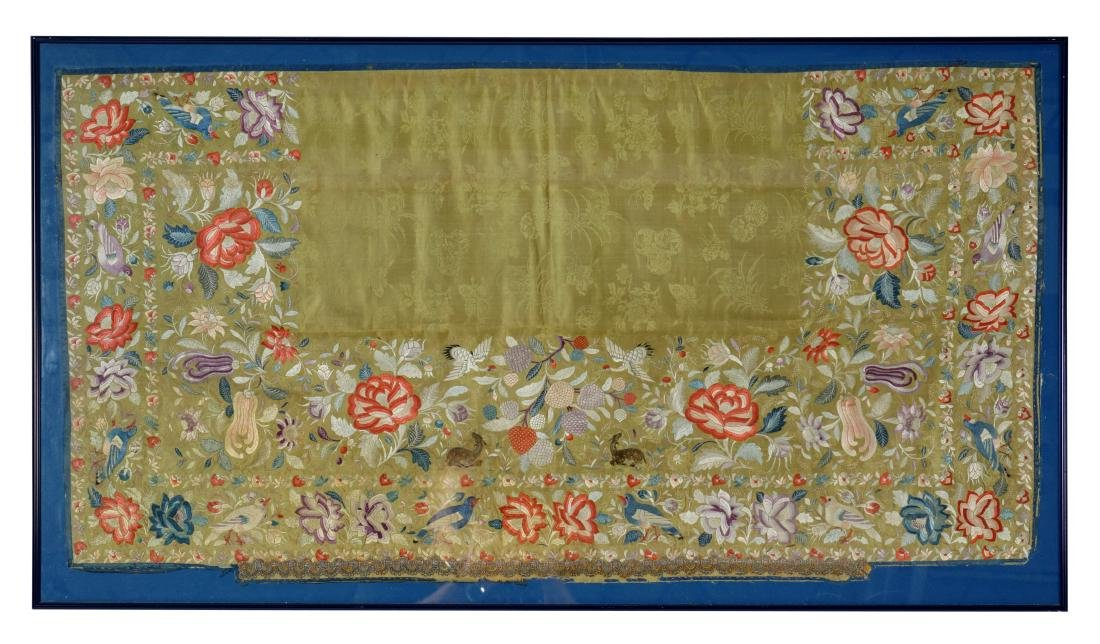 Chinese Silk Embroidered Textile Panel 18/19th C