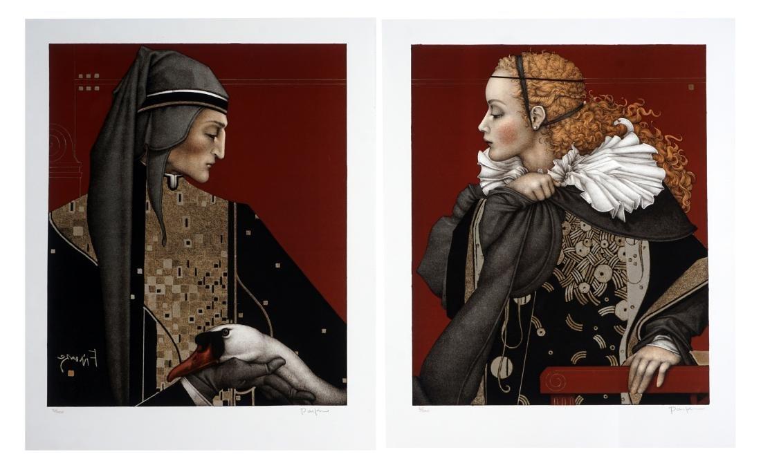 """Michael Parkes Set Lithograph """"Dante"""" & """"Beatri"""