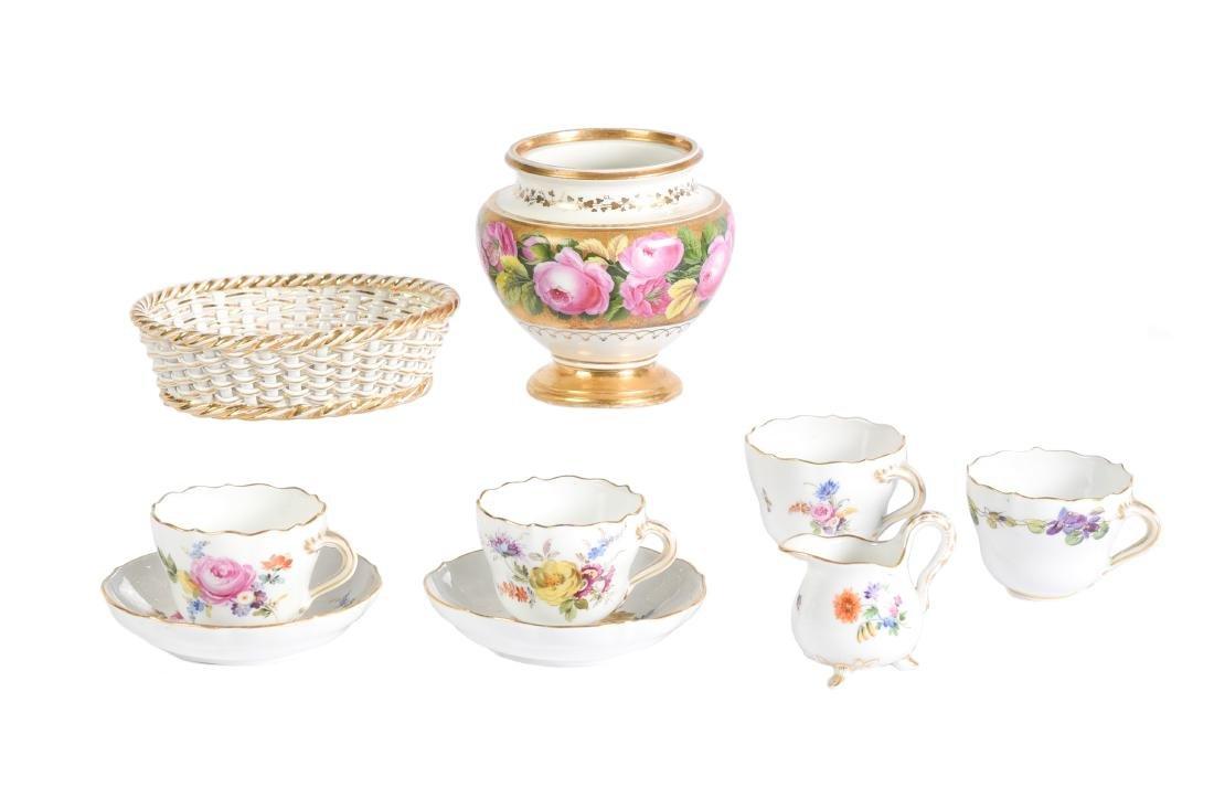 9 Pc Lot Of Meissen Porcelain Floral Motif