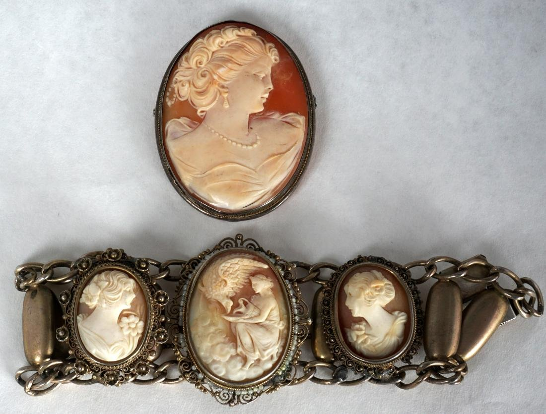 Two Piece Cameo Lot  800 & 925 Silver