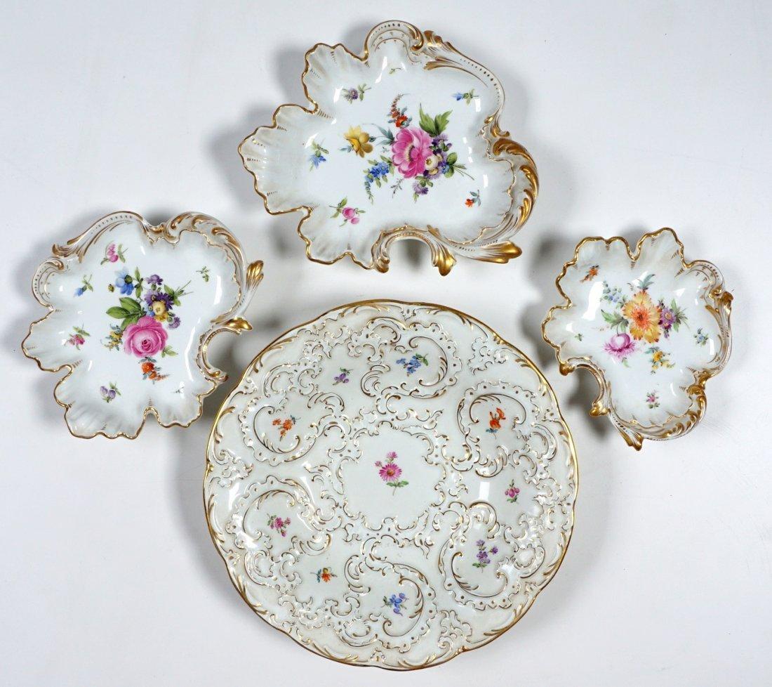 4 Piece Lot of German Porcelain Meissen and Saxony