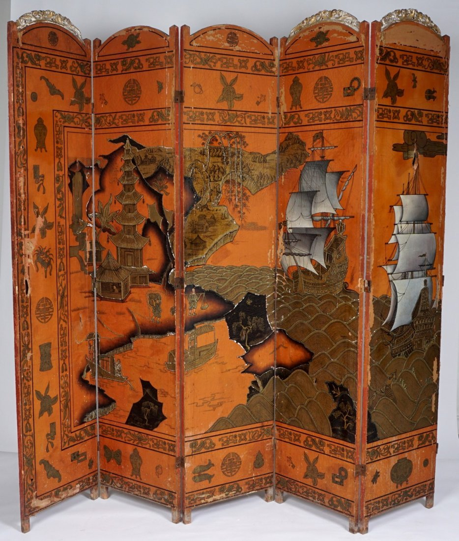 Chinese Five Panel Room Divider