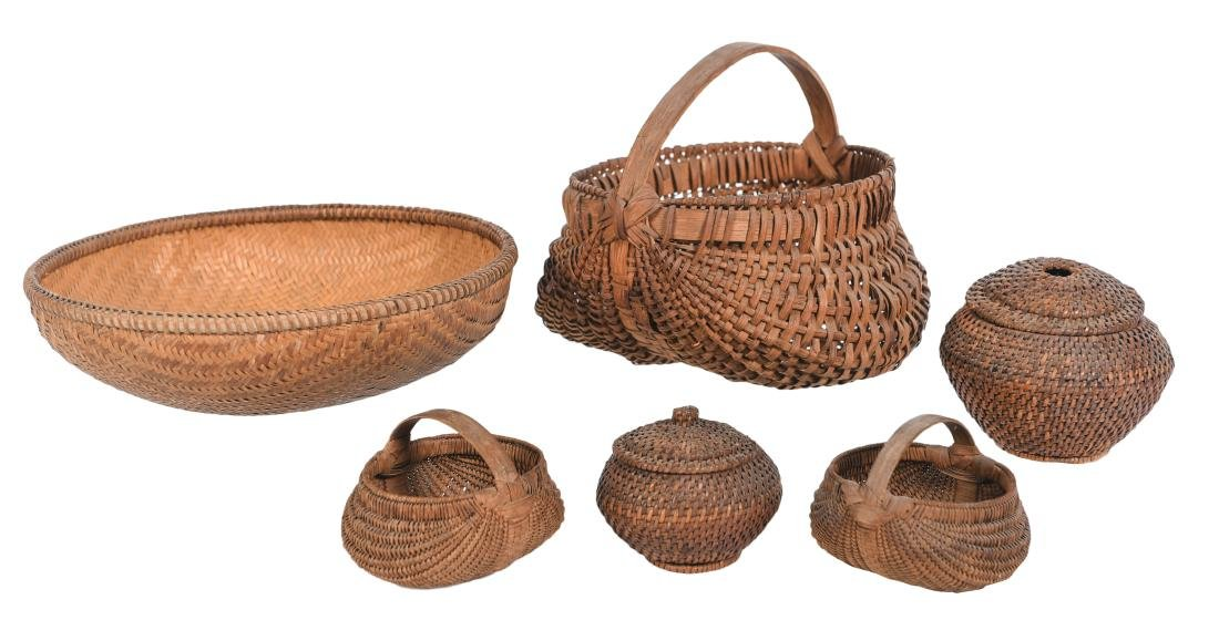 Group Lot Six Woven Baskets
